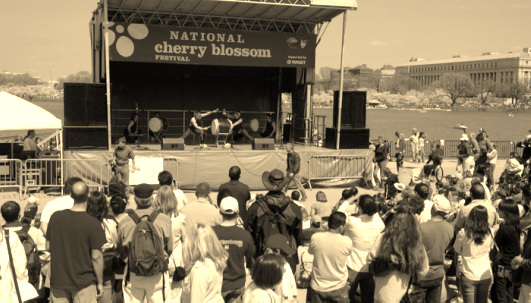 Nen Daiko performing on the Tidal Basin stage of the National Cherry Blossom Festival.